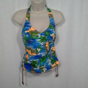 Swimsuit top Sz 10 Blue white Floral Islands Aloha